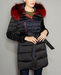 The Fur Vault Fox Trim Hooded Puffer Coat Black Navy Red