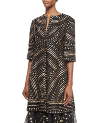 Naeem Khan Metallic Dome Beaded Topper Coat