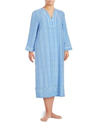 Oscar De La Renta Printed Long Sleeve Nightgown Blue