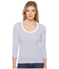 Three Dots Stripe 3 4 Sleeve Scoop Neck White Seaside Women's Clothing