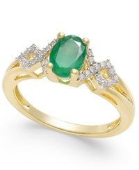 Macy's Emerald 5 8 Ct. T.W. And Diamond 1 8 Ct. T.W. Ring In 14K Gold Green