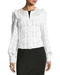 Andrew Gn Zip Front Lace Eyelet Jacket White