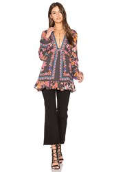 Free People Violet Hill Printed Tunic Top Charcoal