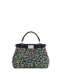 Fendi Peekaboo Mini Beaded Satchel Bag Navy Multi