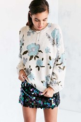 Kimchi And Blue Floral Balloon Sleeve Pullover Sweater Cream Multi