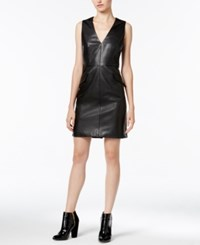 Bar Iii Faux Leather Dress Only At Macy's Deep Black