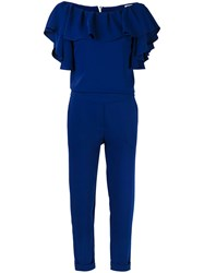 P.A.R.O.S.H. Ruffle Top Jumpsuit Women Polyester Xs Blue