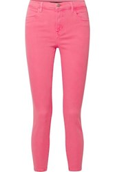J Brand Alana High Rise Skinny Jeans Bright Pink
