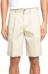 Nordstrom Big And Tall Shop Pleated Supima Cotton Shorts Beige Light
