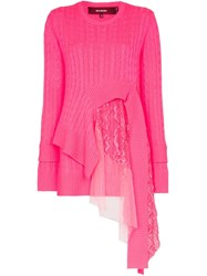 Sies Marjan Trine Wool Cashmere Lace Tulle Strap Jumper Pink