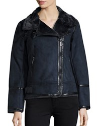 Michael Kors Faux Fur Lined Moto Jacket Navy Blue