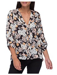 B Collection By Bobeau Cristy Pleat Back Floral Print Blouse Stencil