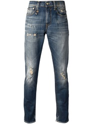 R 13 R13 Distressed Slim Jeans Blue
