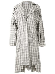 Mara Mac Oversized Checked Coat Grey