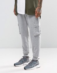 Asos Standard Joggers In Grey Rib With Cargo Pockets Grey