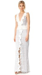 Monique Lhuillier Sleeveless Ruffle V Neck Gown Silk White