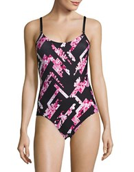 Calvin Klein Abstract Floral One Piece Swimsuit Pink