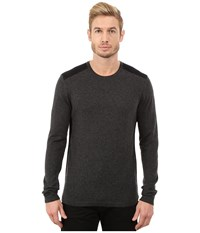 John Varvatos Long Sleeve Crew Sweater With Tonal Rivet Patches Y1187r3b Charcoal Heather Men's Sweater Gray