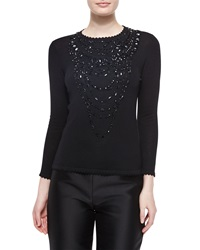 Carolina Herrera Jewel Embellished Scallop Trimmed Top