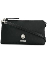 Versus Logo Zipped Shoulder Bag Black