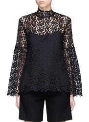 Macgraw Bell Sleeve Guipure Lace Top Black