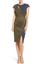Eci Women's Cutout Faux Suede Sheath Dress