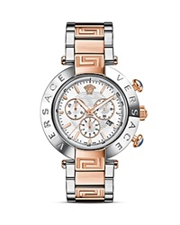 Versace Reve Chronograph Stainless Steel And Rose Gold Watch With White Mother Of Pearl Dial 46Mm Silver Rose