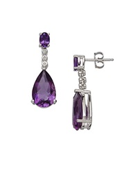 Lord And Taylor Amethyst Diamond And Sterling Silver Drop Earrings Purple