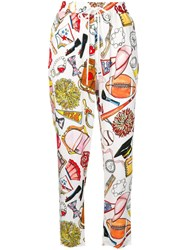 Love Moschino Printed Cropped Trousers White