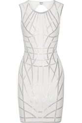Herve Leger Romee Metallic Trimmed Stretch Jacquard Knit Dress Off White