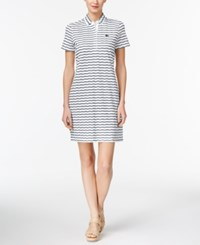 Lacoste Cotton Striped Button Back Polo Dress White Navy Blue