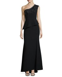 Sue Wong One Shoulder Beaded Peplum Gown Black