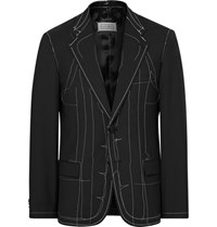 Maison Martin Margiela Black Slim Fit Basting Stitched Wool Blend Blazer Black