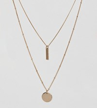 Asos Design Curve Multirow Necklace With Sleek Bar And Disc Pendants In Gold