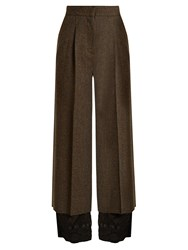 Maison Martin Margiela Contrast Hem Wide Leg Wool Tweed Trousers Khaki Multi