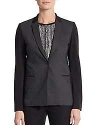 T Tahari Birdseye Blocked Blazer Dark Grey