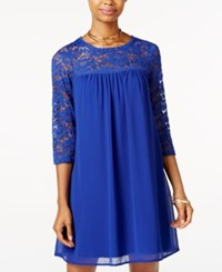 As U Wish Juniors' Lace Trim Shift Dress Blue