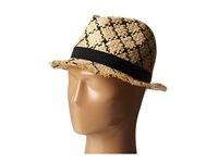 Bcbgmaxazria Checked Fedora Hat Natural Fedora Hats Beige