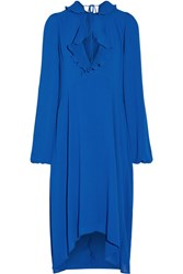 Balenciaga Ruffle Trimmed Georgette Dress Bright Blue