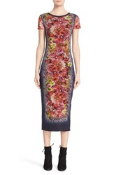 Fuzzi Women's Floral Tattoo Print Tulle Midi Dress Tenebra Navy