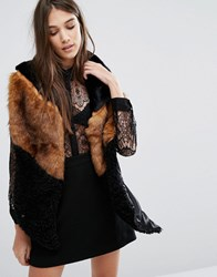 Urbancode Spliced Long Faux Fur Scarf Black Grisly Borg