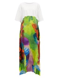 Raey Neon Tie Dye Print Silk And Cotton T Shirt Dress Multi