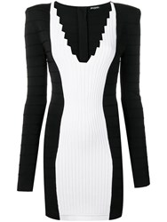Balmain V Neck Fitted Dress Black