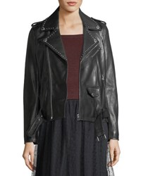 Red Valentino Studded Lambskin Leather Jacket Black