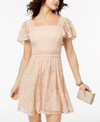 B. Darlin B Juniors' Lace Flutter Sleeved Fit And Flare Dress Blush