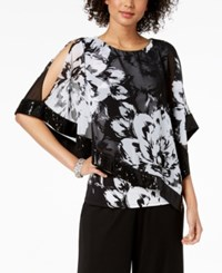 Msk Sequined Floral Print Poncho Top Black White