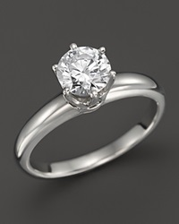 Bloomingdale's Diamond Solitaire Ring In Platinum 1.0 Ct. T.W. Silver