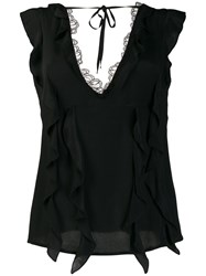 Class Roberto Cavalli Lace Trimmed Top Black
