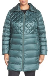 Plus Size Women's Bernardo Packable Down And Primaloft Fill Mix Quilt Coat Forest Green