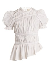 Sea Lace Trimmed Gathered Cotton Top White